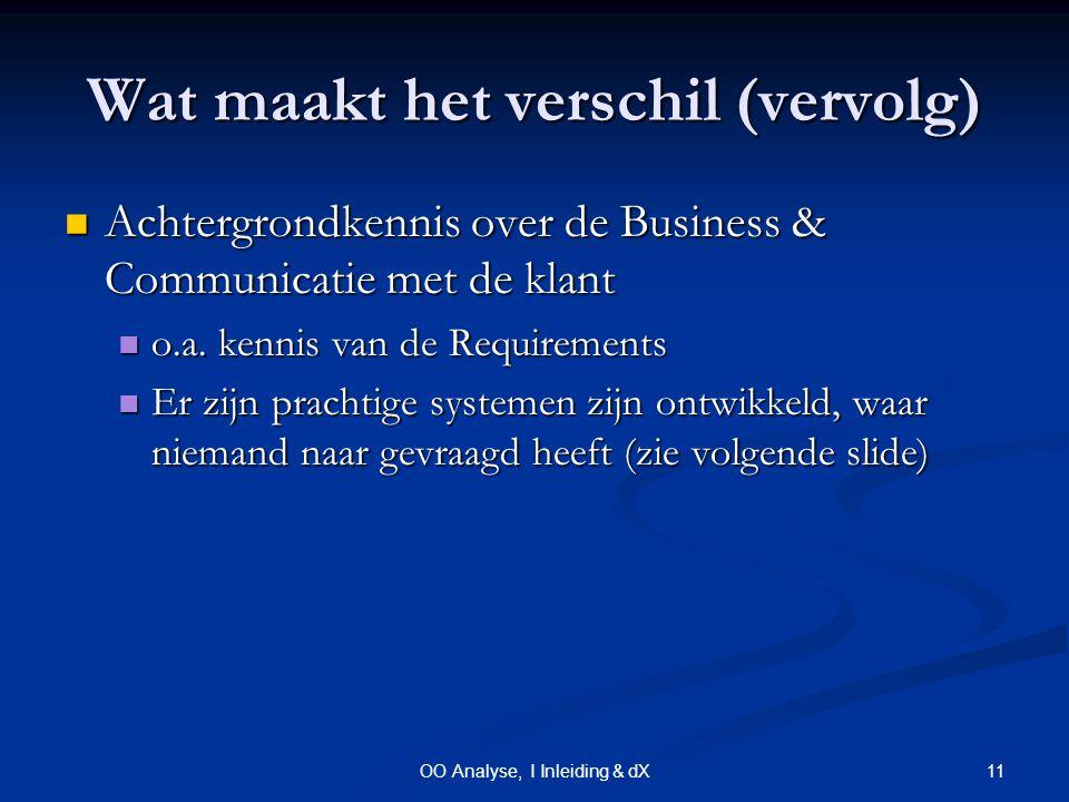 11OO Analyse, I Inleiding & dX Wat maakt het verschil (vervolg) Achtergrondkennis over de Business & Communicatie met de klant Achtergrondkennis over de Business & Communicatie met de klant o.a.