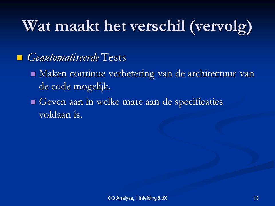 13OO Analyse, I Inleiding & dX Wat maakt het verschil (vervolg) Geautomatiseerde Tests Geautomatiseerde Tests Maken continue verbetering van de architectuur van de code mogelijk.
