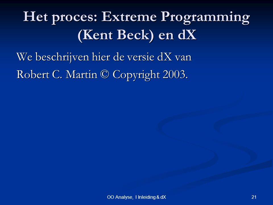 21OO Analyse, I Inleiding & dX Het proces: Extreme Programming (Kent Beck) en dX We beschrijven hier de versie dX van Robert C.