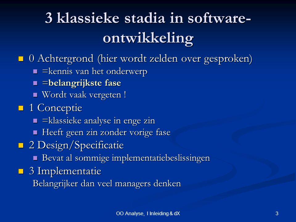 3OO Analyse, I Inleiding & dX 3 klassieke stadia in software- ontwikkeling 0 Achtergrond (hier wordt zelden over gesproken) 0 Achtergrond (hier wordt zelden over gesproken) =kennis van het onderwerp =kennis van het onderwerp =belangrijkste fase =belangrijkste fase Wordt vaak vergeten .