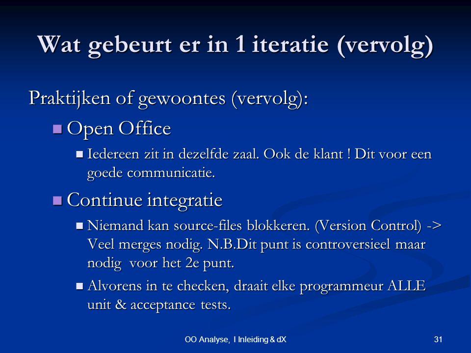 31OO Analyse, I Inleiding & dX Wat gebeurt er in 1 iteratie (vervolg) Praktijken of gewoontes (vervolg): Open Office Open Office Iedereen zit in dezelfde zaal.
