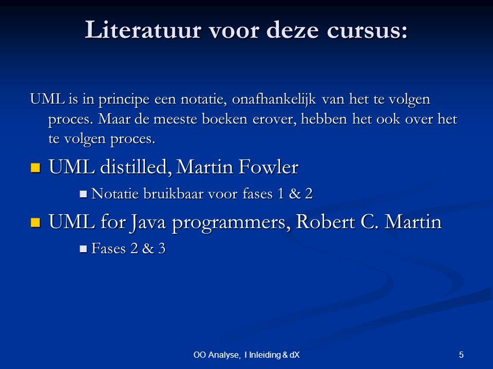 5OO Analyse, I Inleiding & dX Literatuur voor deze cursus: UML is in principe een notatie, onafhankelijk van het te volgen proces.