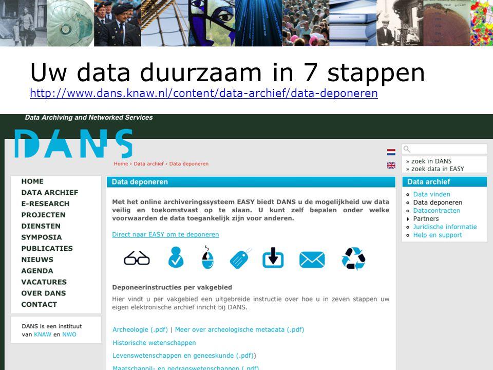 Uw data duurzaam in 7 stappen http://www.dans.knaw.nl/content/data-archief/data-deponeren http://www.dans.knaw.nl/content/data-archief/data-deponeren