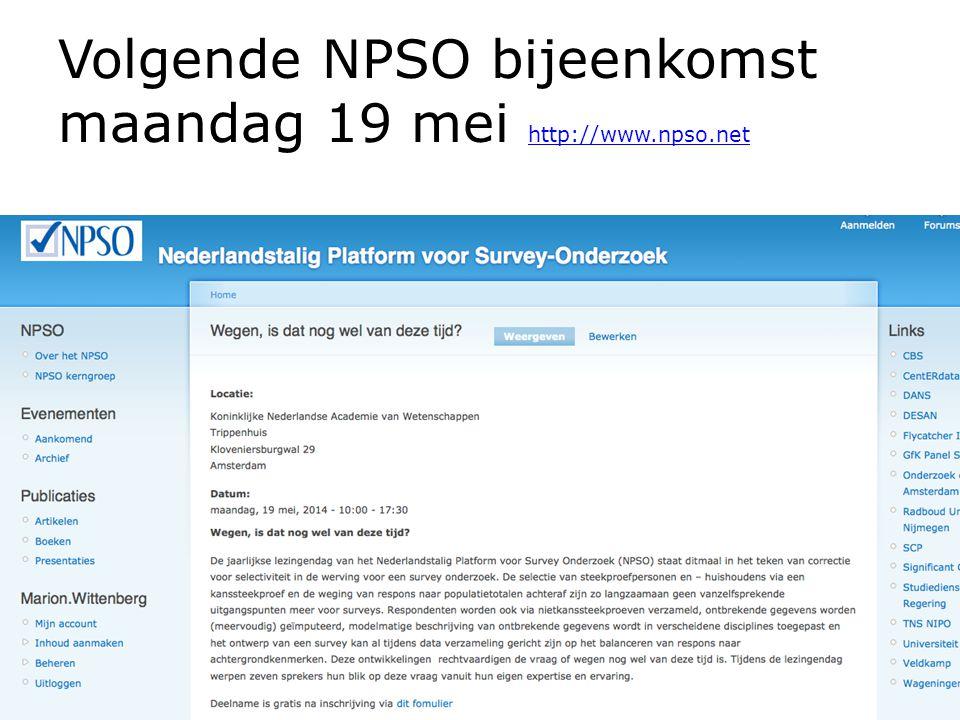 Volgende NPSO bijeenkomst maandag 19 mei http://www.npso.net http://www.npso.net NPSO discussiemiddag over Open Access - 12 maart 2014