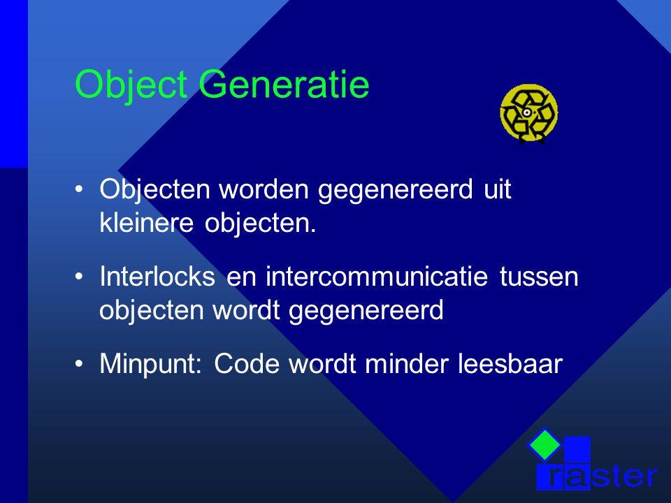 Object Generatie Objecten worden gegenereerd uit kleinere objecten.