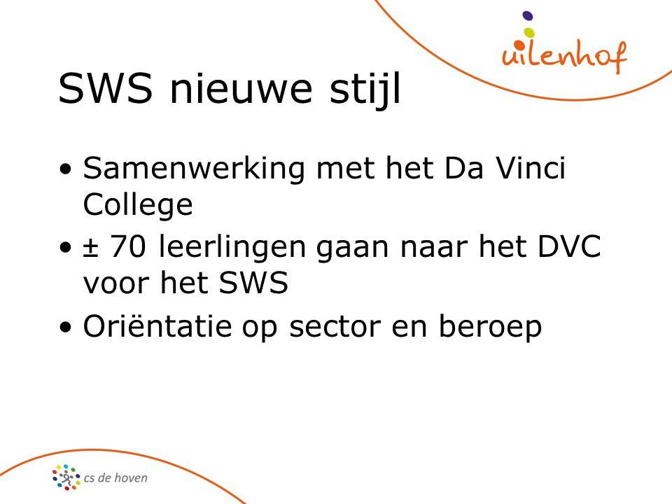 SWS nieuwe stijl Samenwerking met het Da Vinci College ± 70 leerlingen gaan naar het DVC voor het SWS Oriëntatie op sector en beroep