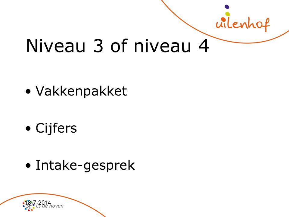 18-7-2014 Niveau 3 of niveau 4 Vakkenpakket Cijfers Intake-gesprek