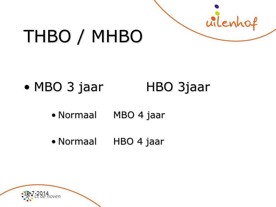 18-7-2014 THBO / MHBO MBO 3 jaar HBO 3jaarMBO 3 jaar HBO 3jaar Normaal MBO 4 jaarNormaal MBO 4 jaar Normaal HBO 4 jaarNormaal HBO 4 jaar