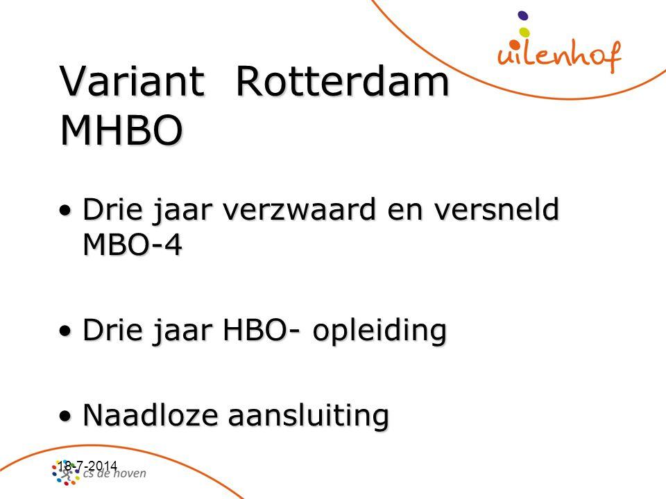 18-7-2014 Variant Rotterdam MHBO Drie jaar verzwaard en versneld MBO-4Drie jaar verzwaard en versneld MBO-4 Drie jaar HBO- opleidingDrie jaar HBO- opl