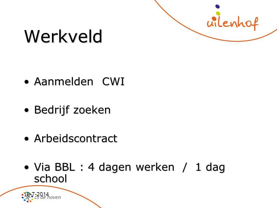 18-7-2014 Werkveld Aanmelden CWIAanmelden CWI Bedrijf zoekenBedrijf zoeken ArbeidscontractArbeidscontract Via BBL : 4 dagen werken / 1 dag schoolVia B