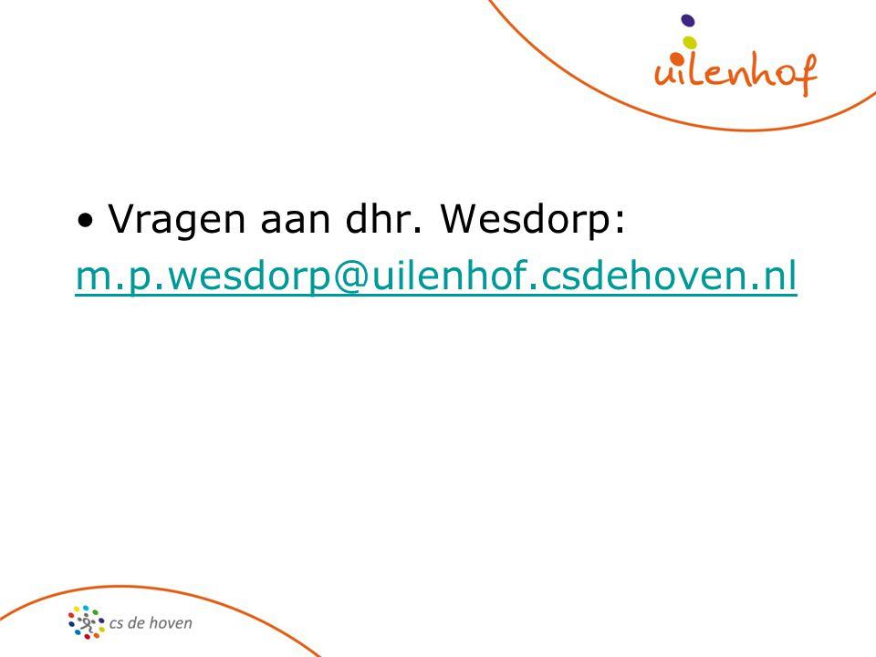 Vragen aan dhr. Wesdorp: m.p.wesdorp@uilenhof.csdehoven.nl