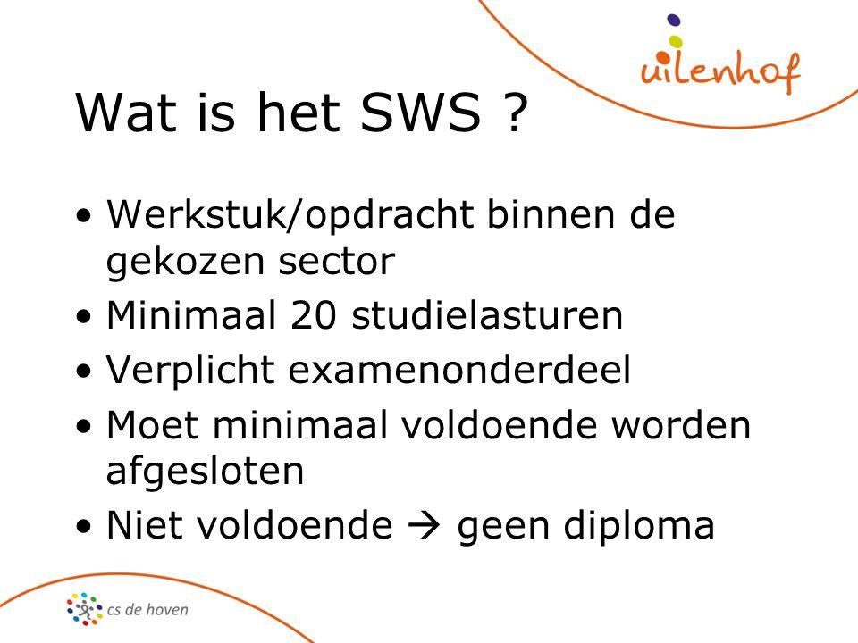 Wat is het SWS ? Werkstuk/opdracht binnen de gekozen sector Minimaal 20 studielasturen Verplicht examenonderdeel Moet minimaal voldoende worden afgesl