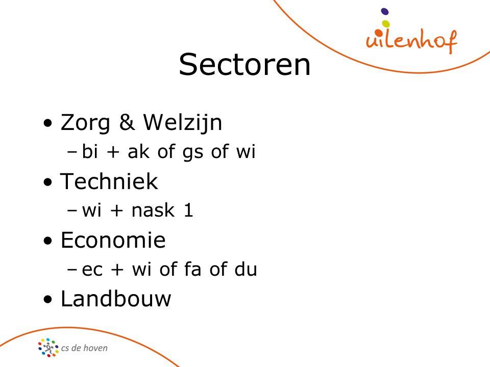 Sectoren Zorg & Welzijn –bi + ak of gs of wi Techniek –wi + nask 1 Economie –ec + wi of fa of du Landbouw