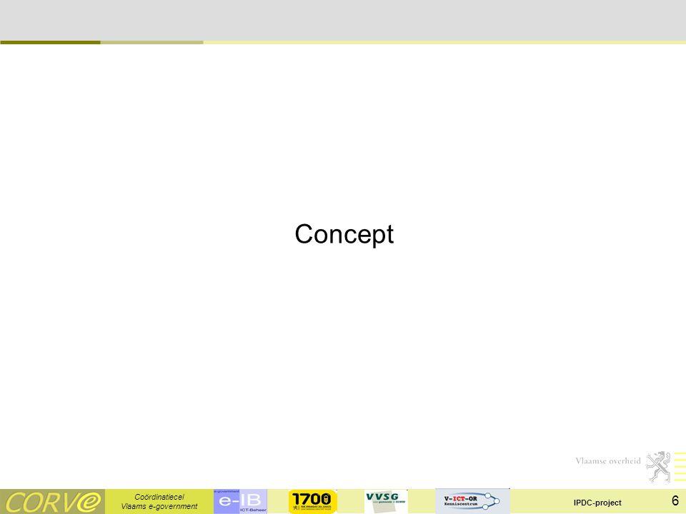 Coördinatiecel Vlaams e-government IPDC-project 7 Concept Verschillende modellen mogelijk: Cultuurdatabankmodel -Alles gecentraliseerd -Uitgebreide redactie/controle -Uitgebreid datamodel VIND-catalogus (N) –Publicatie (geprivatiseerd) –Niet interbestuurlijk Samenwerkende catalogi –Soort zoekmachine bovenop de verschillende niet-interbestuurlijke catalogi –Om toch een interbestuurlijk overzicht mogelijk te maken ESD-toolkit (VK) –Omvattend model waaronder producten en dienstencatalogus –Tal van gelinkte informatie, statistieken, …  informatiemodel –Toepassingen beschikbaar