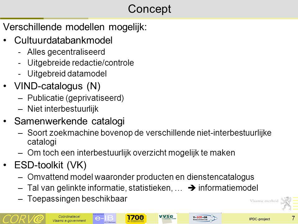 Coördinatiecel Vlaams e-government IPDC-project 8 Concept Verschillende modellen mogelijk: Cultuurdatabankmodel -Alles gecentraliseerd -Uitgebreide redactie/controle -Uitgebreid datamodel -Interbestuurlijk VIND-catalogus (N) –Publicatie (geprivatiseerd - uitgeverij) –Niet interbestuurlijk Samenwerkende catalogi –Soort zoekmachine bovenop de verschillende niet-interbestuurlijke catalogi –Om toch een interbestuurlijk overzicht mogelijk te maken ESD-toolkit (VK) –Omvattend model waaronder producten en dienstencatalogus –Tal van gelinkte informatie, statistieken, …  informatiemodel –Toepassingen beschikbaar