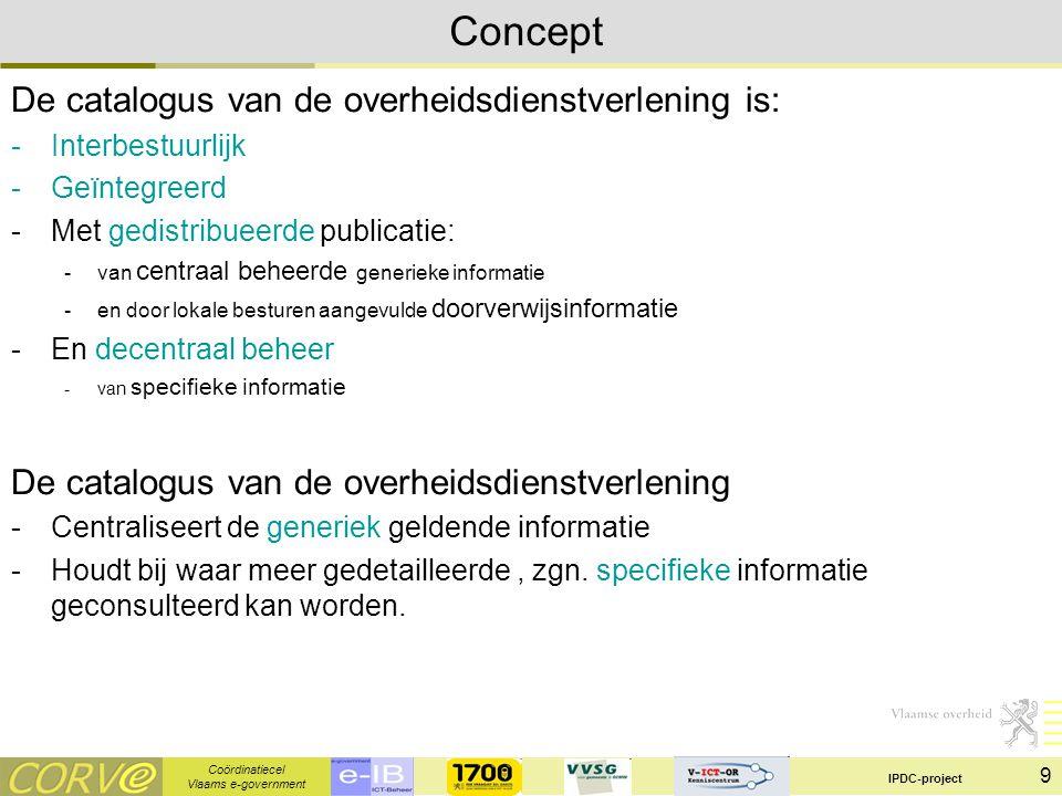 Coördinatiecel Vlaams e-government IPDC-project 9 Concept De catalogus van de overheidsdienstverlening is: -Interbestuurlijk -Geïntegreerd -Met gedistribueerde publicatie: -van centraal beheerde generieke informatie -en door lokale besturen aangevulde doorverwijsinformatie -En decentraal beheer -van specifieke informatie De catalogus van de overheidsdienstverlening -Centraliseert de generiek geldende informatie -Houdt bij waar meer gedetailleerde, zgn.