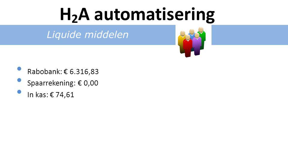 Liquide middelen Rabobank: € 6.316,83 Spaarrekening: € 0,00 In kas: € 74,61 H 2 A automatisering