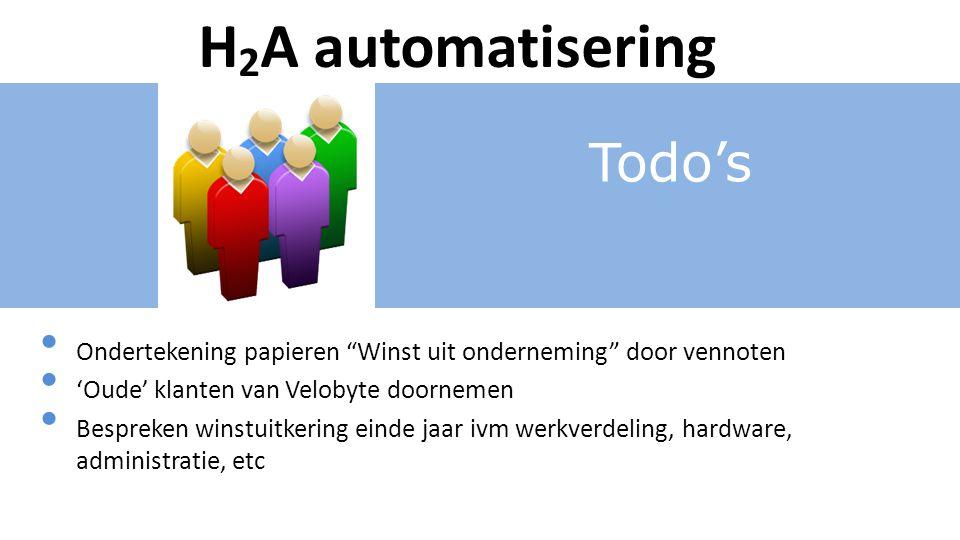 Todo's H 2 A automatisering Ondertekening papieren Winst uit onderneming door vennoten 'Oude' klanten van Velobyte doornemen Bespreken winstuitkering einde jaar ivm werkverdeling, hardware, administratie, etc