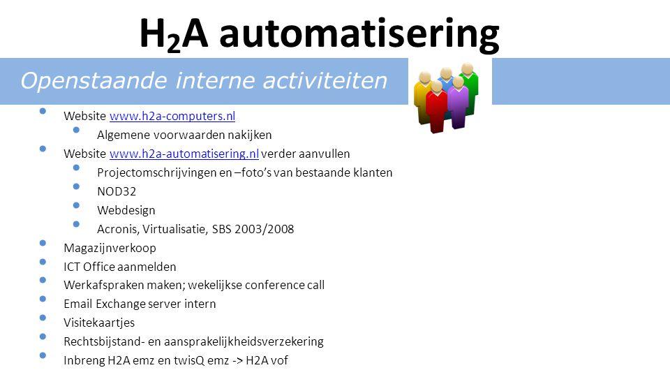 Openstaande interne activiteiten Website www.h2a-computers.nlwww.h2a-computers.nl Algemene voorwaarden nakijken Website www.h2a-automatisering.nl verder aanvullenwww.h2a-automatisering.nl Projectomschrijvingen en –foto's van bestaande klanten NOD32 Webdesign Acronis, Virtualisatie, SBS 2003/2008 Magazijnverkoop ICT Office aanmelden Werkafspraken maken; wekelijkse conference call Email Exchange server intern Visitekaartjes Rechtsbijstand- en aansprakelijkheidsverzekering Inbreng H2A emz en twisQ emz -> H2A vof H 2 A automatisering