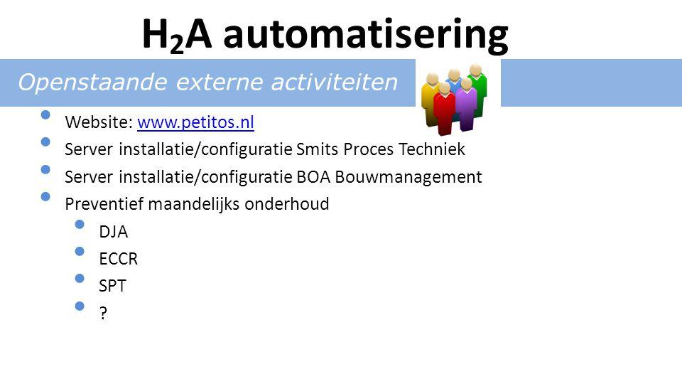 Openstaande externe activiteiten Website: www.petitos.nlwww.petitos.nl Server installatie/configuratie Smits Proces Techniek Server installatie/configuratie BOA Bouwmanagement Preventief maandelijks onderhoud DJA ECCR SPT .