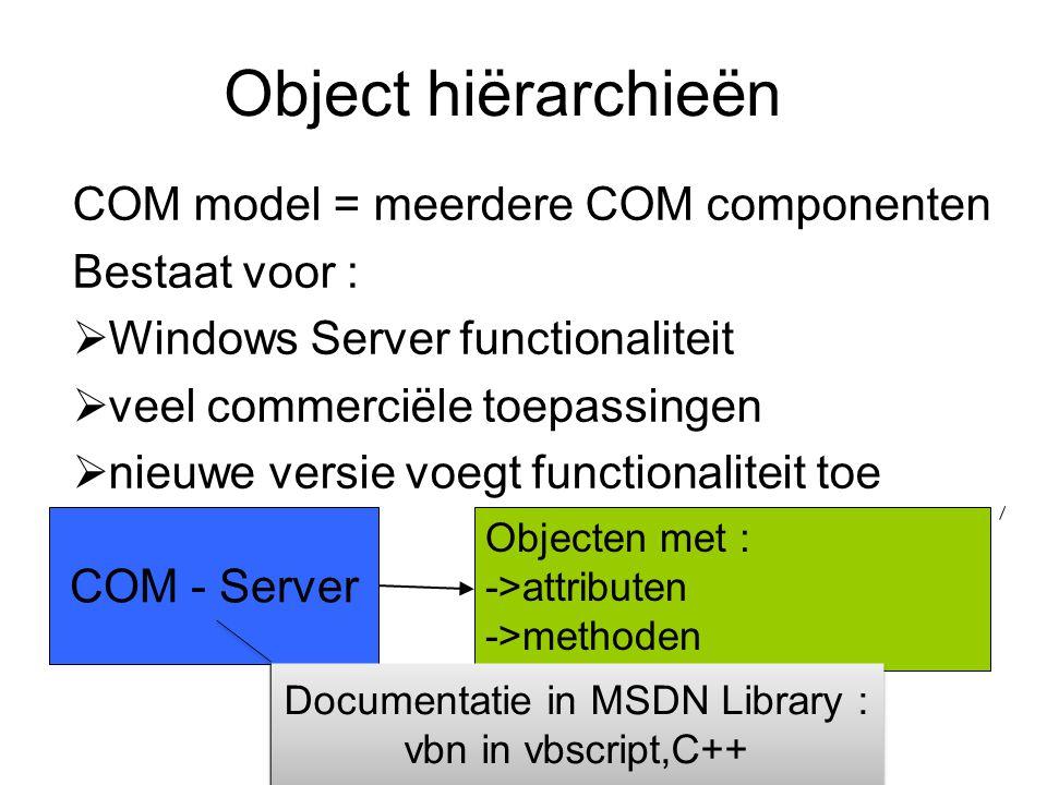 Object hiërarchieën COM model = meerdere COM componenten Bestaat voor :  Windows Server functionaliteit  veel commerciële toepassingen  nieuwe versie voegt functionaliteit toe COM - Server Objecten met : ->attributen ->methoden Documentatie in MSDN Library : vbn in vbscript,C++