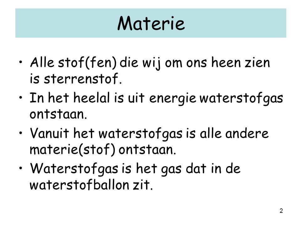 2 Materie Alle stof(fen) die wij om ons heen zien is sterrenstof. In het heelal is uit energie waterstofgas ontstaan. Vanuit het waterstofgas is alle