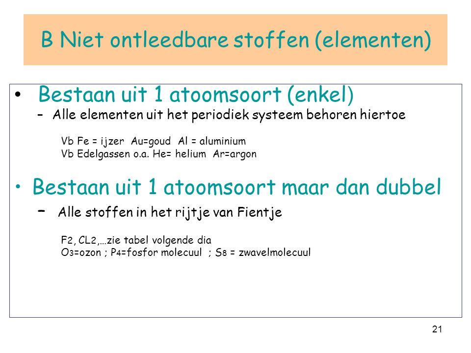 21 B Niet ontleedbare stoffen (elementen) Bestaan uit 1 atoomsoort (enkel ) –Alle elementen uit het periodiek systeem behoren hiertoe Vb Fe = ijzer Au