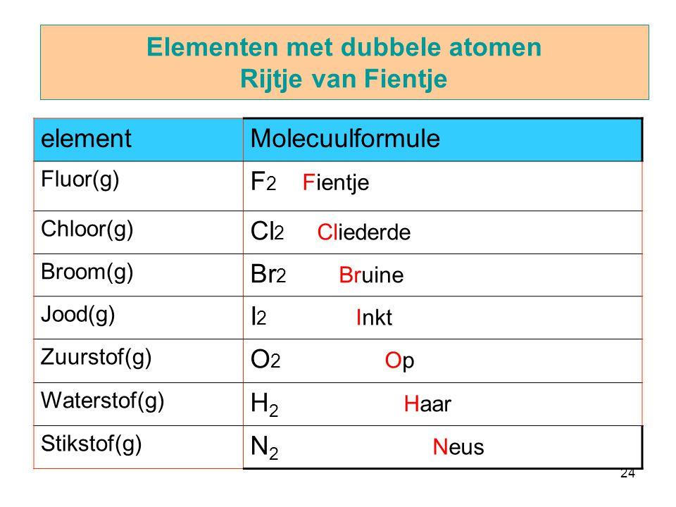 24 Elementen met dubbele atomen Rijtje van Fientje elementMolecuulformule Fluor(g) F 2 Fientje Chloor(g) Cl 2 Cliederde Broom(g) Br 2 Bruine Jood(g) I 2 Inkt Zuurstof(g) O 2 Op Waterstof(g) H 2 Haar Stikstof(g) N 2 Neus
