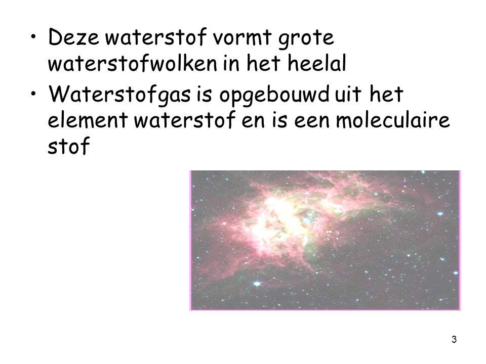 3 Deze waterstof vormt grote waterstofwolken in het heelal Waterstofgas is opgebouwd uit het element waterstof en is een moleculaire stof