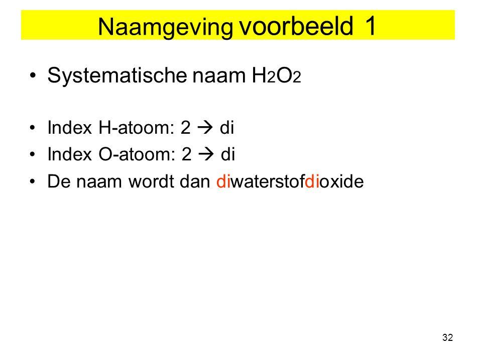 32 Naamgeving voorbeeld 1 Systematische naam H 2 O 2 Index H-atoom: 2  di Index O-atoom: 2  di De naam wordt dan diwaterstofdioxide
