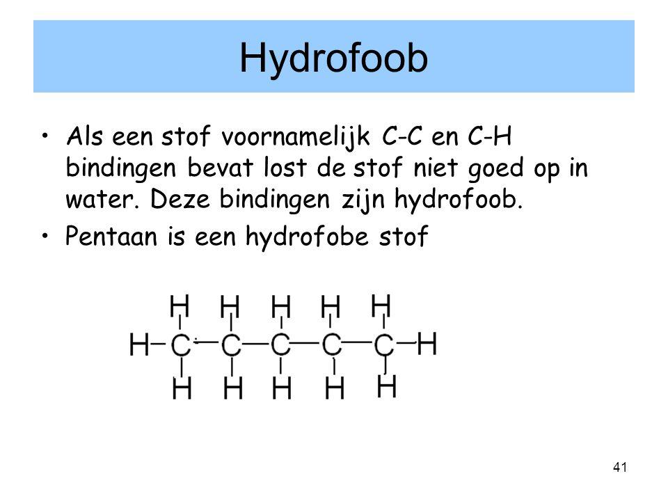 41 Hydrofoob Als een stof voornamelijk C-C en C-H bindingen bevat lost de stof niet goed op in water. Deze bindingen zijn hydrofoob. Pentaan is een hy