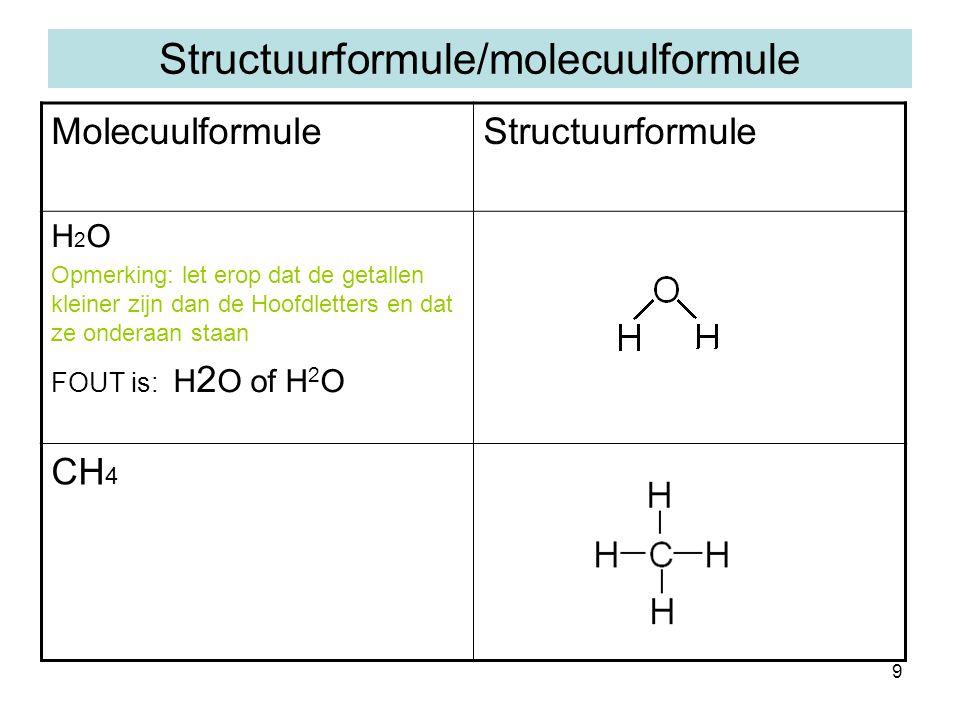 9 Structuurformule/molecuulformule MolecuulformuleStructuurformule H 2 O Opmerking: let erop dat de getallen kleiner zijn dan de Hoofdletters en dat ze onderaan staan FOUT is: H 2 O of H 2 O CH 4