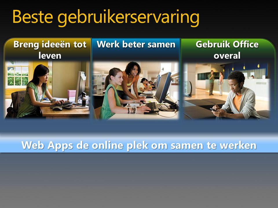 Web Apps de online plek om samen te werken Gebruik Office overal Beste gebruikerservaring Werk beter samen Breng ideeën tot leven