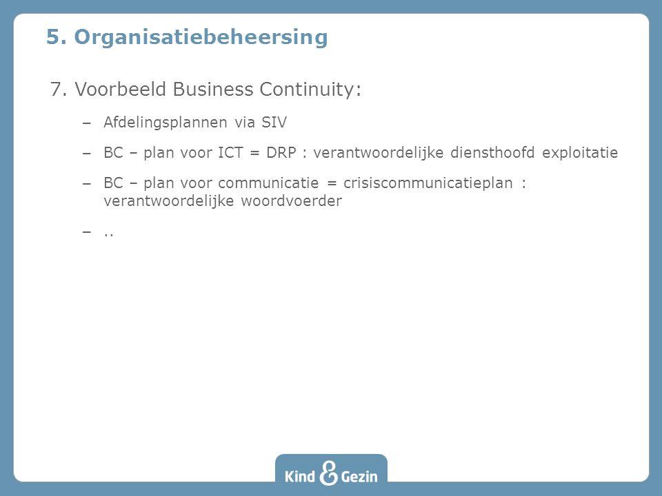 7. Voorbeeld Business Continuity: – Afdelingsplannen via SIV – BC – plan voor ICT = DRP : verantwoordelijke diensthoofd exploitatie – BC – plan voor c