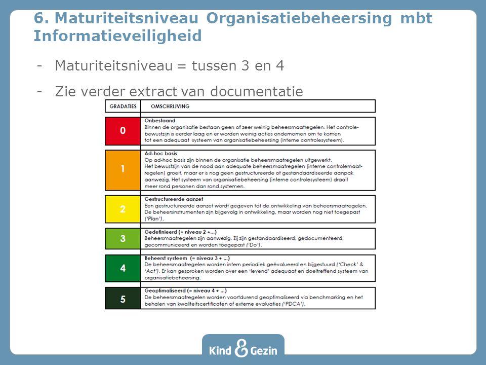 -Maturiteitsniveau = tussen 3 en 4 -Zie verder extract van documentatie 6. Maturiteitsniveau Organisatiebeheersing mbt Informatieveiligheid