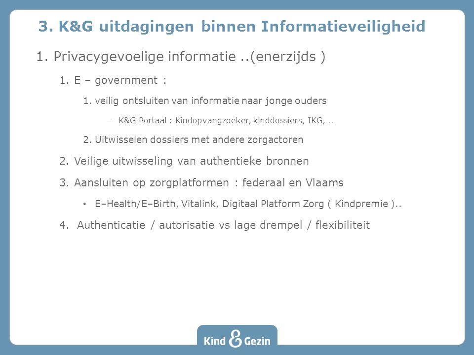 1.Privacygevoelige informatie..(enerzijds ) 1.E – government : 1.veilig ontsluiten van informatie naar jonge ouders – K&G Portaal : Kindopvangzoeker,
