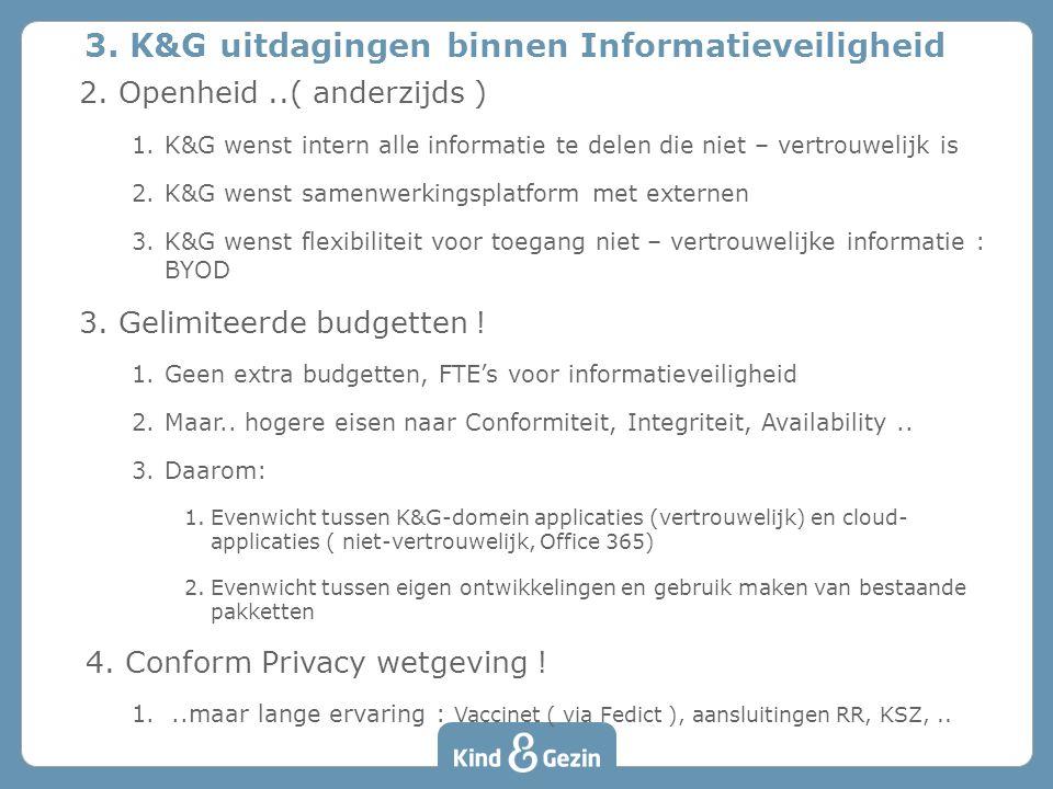 2. Openheid..( anderzijds ) 1.K&G wenst intern alle informatie te delen die niet – vertrouwelijk is 2.K&G wenst samenwerkingsplatform met externen 3.K