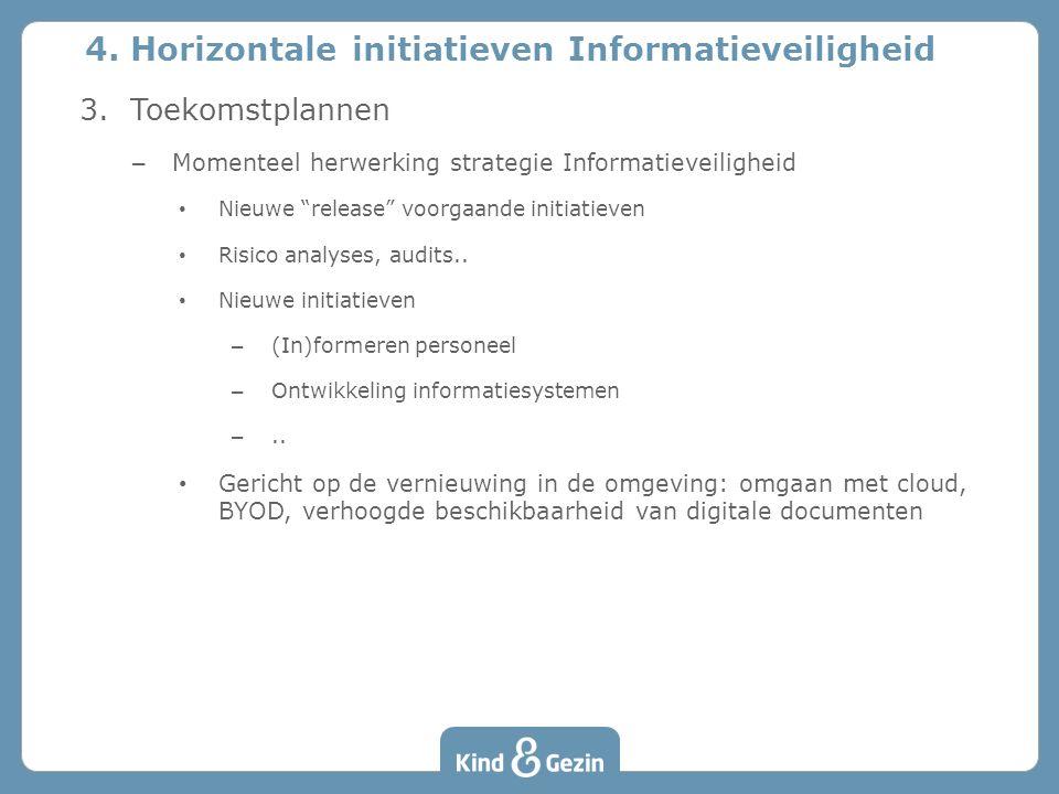 """3. Toekomstplannen – Momenteel herwerking strategie Informatieveiligheid Nieuwe """"release"""" voorgaande initiatieven Risico analyses, audits.. Nieuwe ini"""