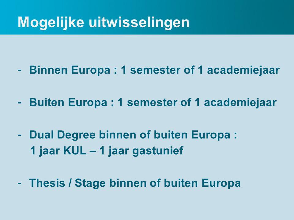 Mogelijke uitwisselingen - Binnen Europa : 1 semester of 1 academiejaar - Buiten Europa : 1 semester of 1 academiejaar - Dual Degree binnen of buiten Europa : 1 jaar KUL – 1 jaar gastunief - Thesis / Stage binnen of buiten Europa