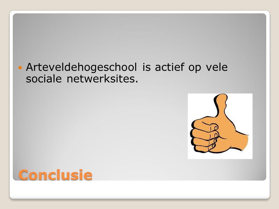 Conclusie Arteveldehogeschool is actief op vele sociale netwerksites.