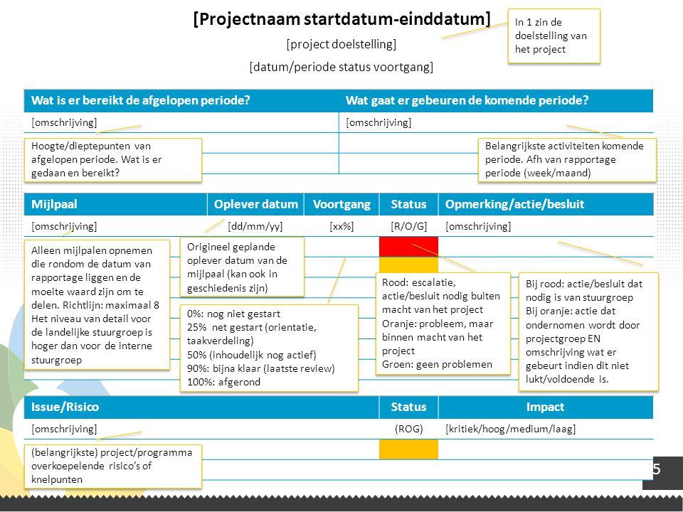 5 [Projectnaam startdatum-einddatum] [project doelstelling] [datum/periode status voortgang] MijlpaalOplever datumVoortgangStatusOpmerking/actie/beslu