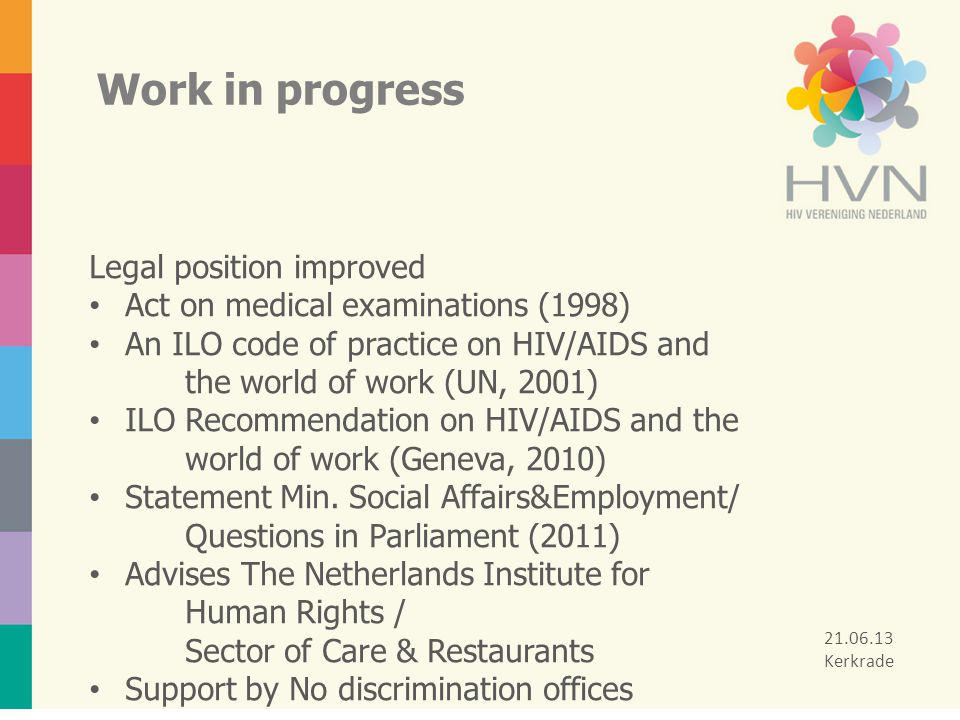 Work in progress Legal position improved Act on medical examinations (1998) An ILO code of practice on HIV/AIDS and the world of work (UN, 2001) ILO R