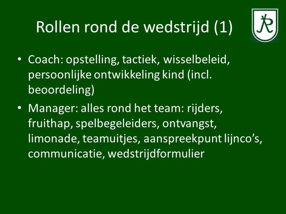 Rollen rond de wedstrijd (1) Coach: opstelling, tactiek, wisselbeleid, persoonlijke ontwikkeling kind (incl. beoordeling) Manager: alles rond het team