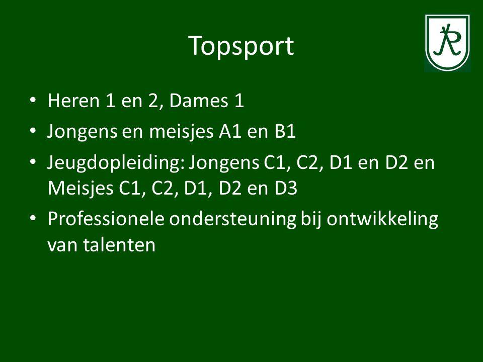 Topsport Heren 1 en 2, Dames 1 Jongens en meisjes A1 en B1 Jeugdopleiding: Jongens C1, C2, D1 en D2 en Meisjes C1, C2, D1, D2 en D3 Professionele onde