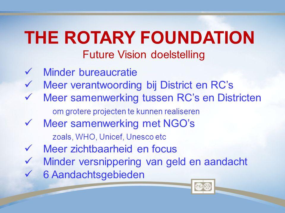 THE ROTARY FOUNDATION Minder bureaucratie Meer verantwoording bij District en RC's Meer samenwerking tussen RC's en Districten om grotere projecten te