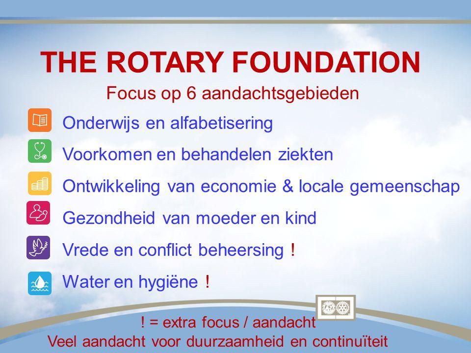 THE ROTARY FOUNDATION Focus op 6 aandachtsgebieden Onderwijs en alfabetisering Voorkomen en behandelen ziekten Ontwikkeling van economie & locale geme