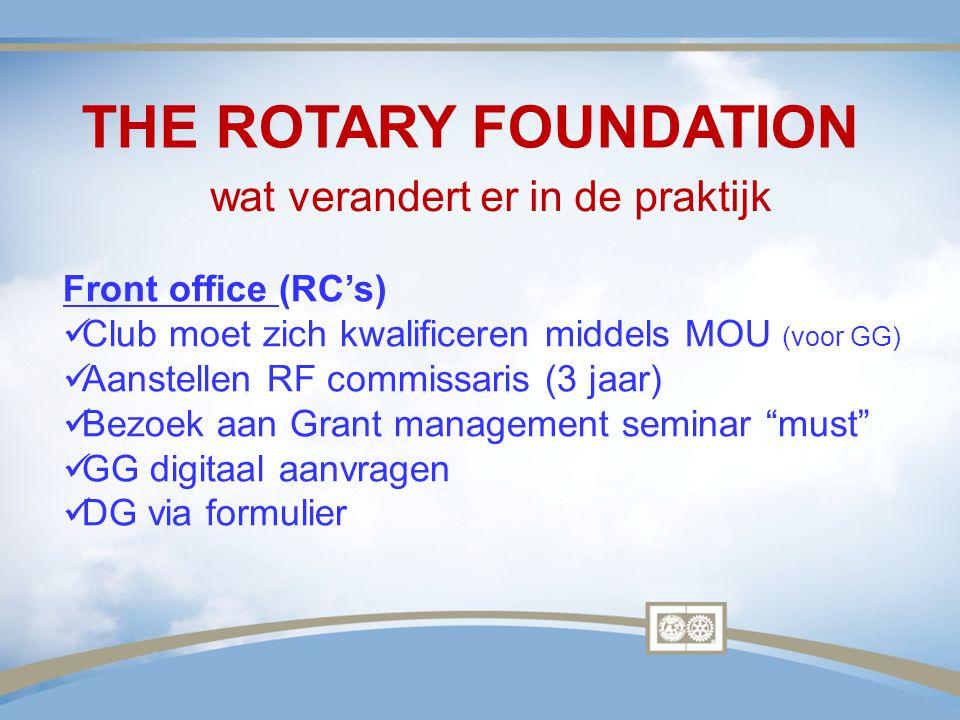 THE ROTARY FOUNDATION Front office (RC's) Club moet zich kwalificeren middels MOU (voor GG) Aanstellen RF commissaris (3 jaar) Bezoek aan Grant manage