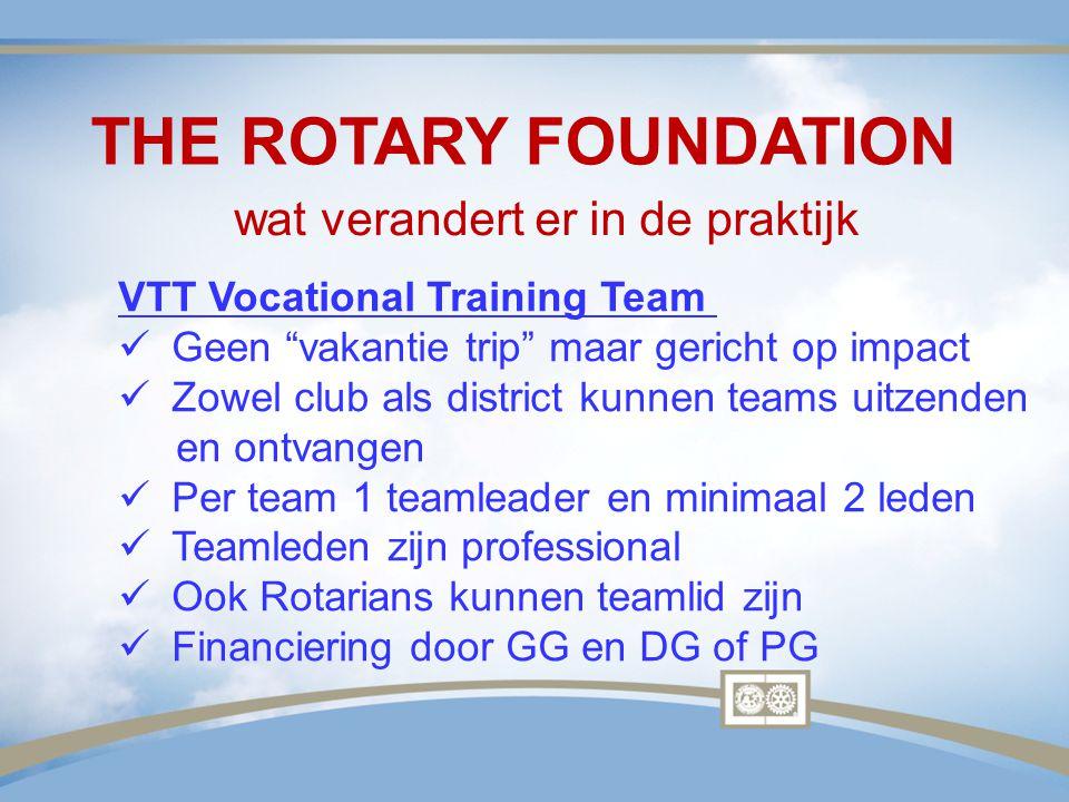 "THE ROTARY FOUNDATION wat verandert er in de praktijk VTT Vocational Training Team Geen ""vakantie trip"" maar gericht op impact Zowel club als district"