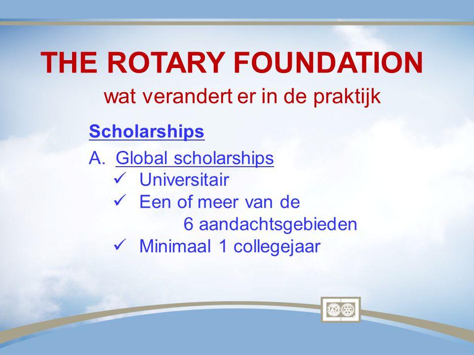 THE ROTARY FOUNDATION wat verandert er in de praktijk Scholarships A.Global scholarships Universitair Een of meer van de 6 aandachtsgebieden Minimaal