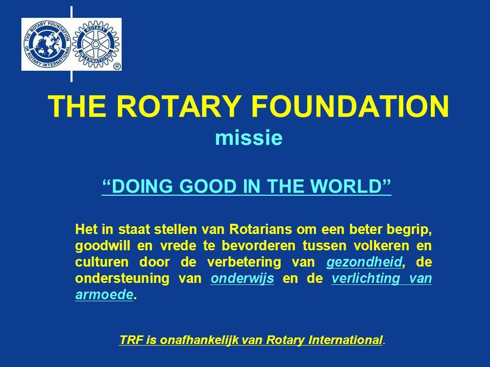 THE ROTARY FOUNDATION missie Het in staat stellen van Rotarians om een beter begrip, goodwill en vrede te bevorderen tussen volkeren en culturen door